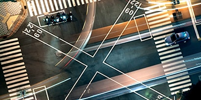 Busy junction at night from above